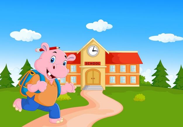 Hipopótamo fofo ir para a escola