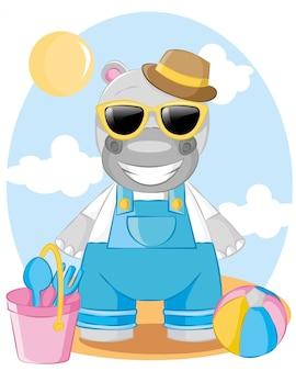 Hipopótamo fofo ir para ilustração dos desenhos animados de férias