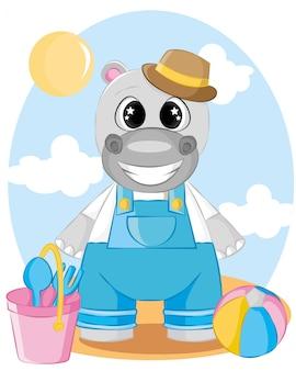 Hipopótamo fofo na ilustração dos desenhos animados de férias