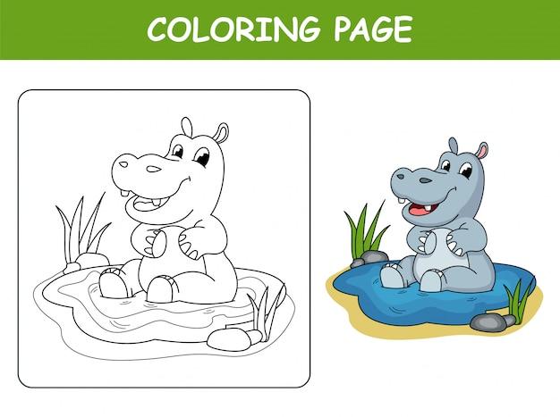 Hipopótamo fofo na poça