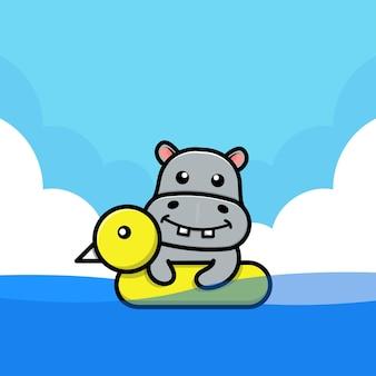 Hipopótamo fofo nadando com ilustração de anel de natação