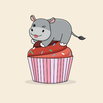 Hipopótamo fofo no bolinho de chocolate