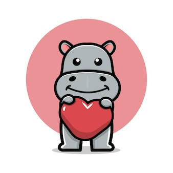 Hipopótamo fofo segurando uma ilustração do ícone de desenho animado
