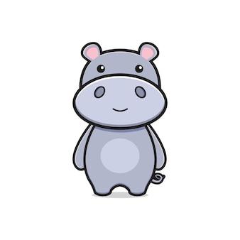 Hipopótamo mascote personagem logotipo desenho animado ícone ilustração plana desenho estilo design Vetor Premium