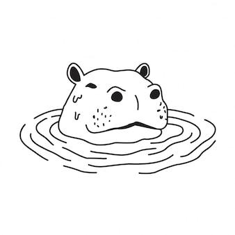 Hipopótamo no desenho da água