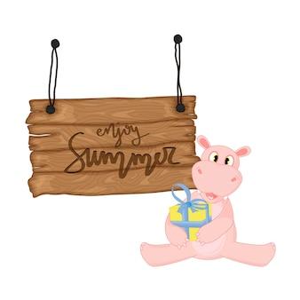 Hipopótamo perto de uma tabuleta de madeira com a inscrição