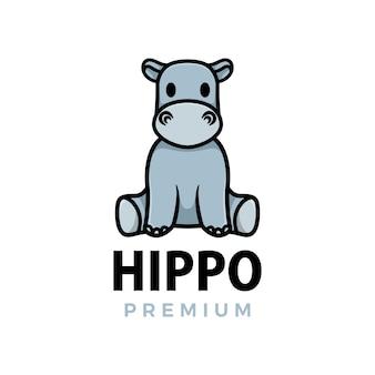 Hipopótamo polegar para cima mascote personagem logotipo icon ilustração