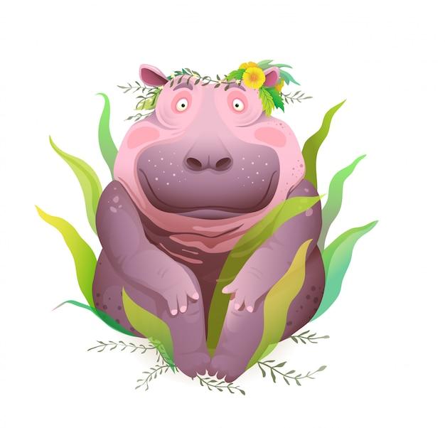 Hipopótamo positivo feliz e sorridente de corpo sentado na natureza usando coroa de flores na cabeça. hipopótamo feliz bonito impressões de camisa t de desenho realistas 3d bonitas e design de vestuário. ilustração.