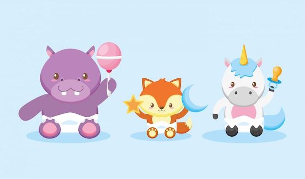 Hipopótamo, raposa e unicórnio para cartão de chuveiro de bebê