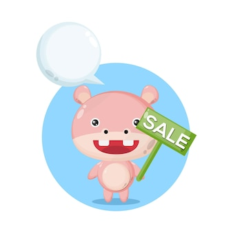 Hipopótamo venda personagem fofa