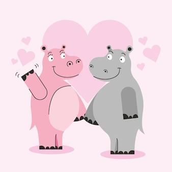 Hipopótamos em desenhos animados de amor entre corações. dia dos namorados.