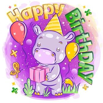 Hipotálamo bonito comemorar feliz aniversário com ilustração de presente de aniversário