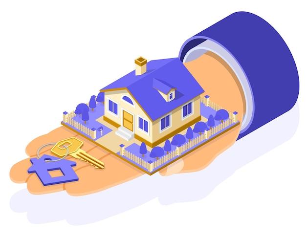 Hipoteca casa conceito isométrico para cartaz