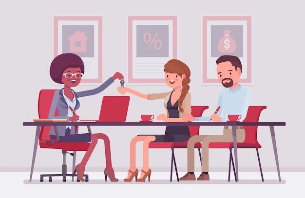 Hipoteca para uma família em um banco. jovem e mulher fazendo um acordo, emprestando dinheiro para endividar-se, proprietários recebendo novas chaves de apartamento. ilustração em vetor estilo simples dos desenhos animados