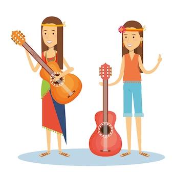 Hippie garotas com guitarras