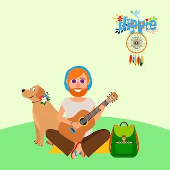 Hippie homem descalço com cachorro