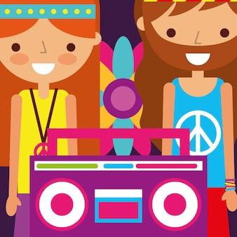 Hippie homem e mulher flor e rádio retro espírito livre
