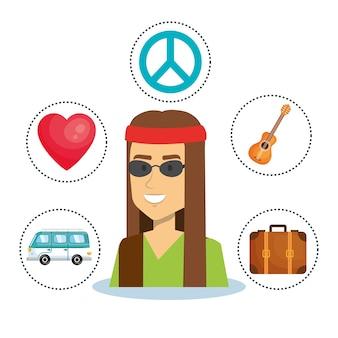 Hippie homens com adesivos objeto relacionados