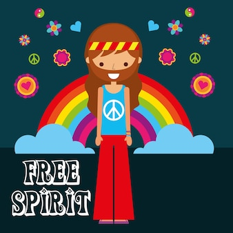 Hippie man rainbow flores espírito livre