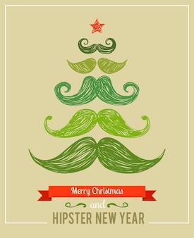 Hipster ano novo e feliz natal, ilustração vetorial