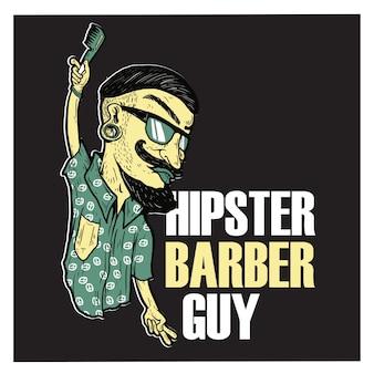 Hipster barbeiro cara ilustração