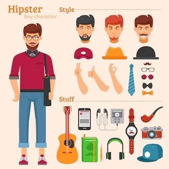 Hipster boy character conjunto de ícones decorativos