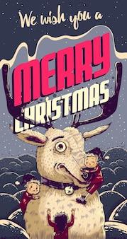 Hipster cartão de natal com veados e duendes. ilustração vetorial