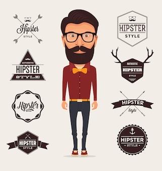 Hipster coleção modelos de logotipo