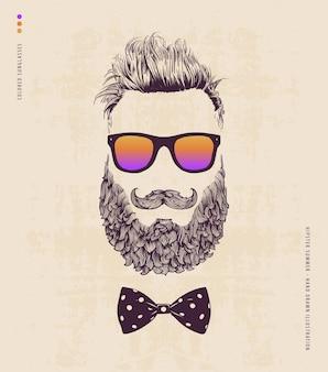 Hipster com bigode de barba e óculos de sol
