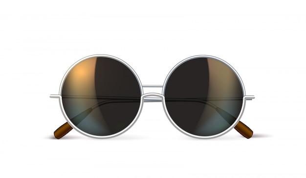 Hipster de círculo retrô de óculos realista de vetor