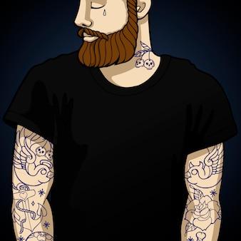Hipster de homem tatuado com barba e tatuagem oldstyle nas mãos