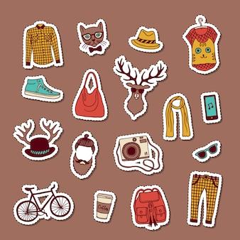 Hipster de vetor doodle conjunto de adesivos
