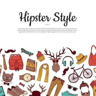 Hipster de vetor doodle fundo com modelo de texto