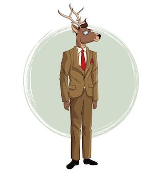 Hipster deer suit red tie sunglasses