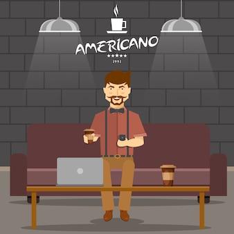 Hipster em design de loja de café com homem sorridente no sofá com bebidas e smartphone