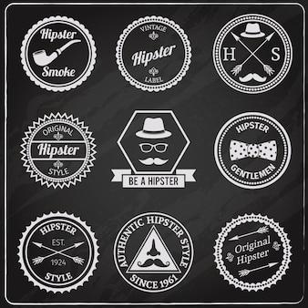 Hipster etiqueta o quadro-negro