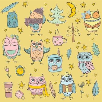 Hipster fofo e conjunto de corujas tribais e outros elementos individuais de design em estilo cartoon