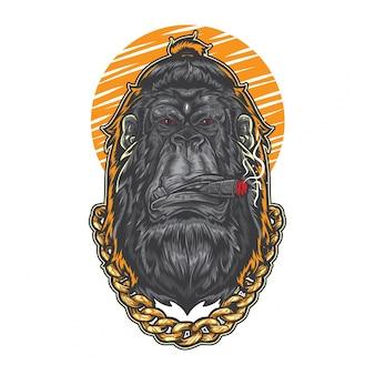 Hipster gorilla smoking cigar
