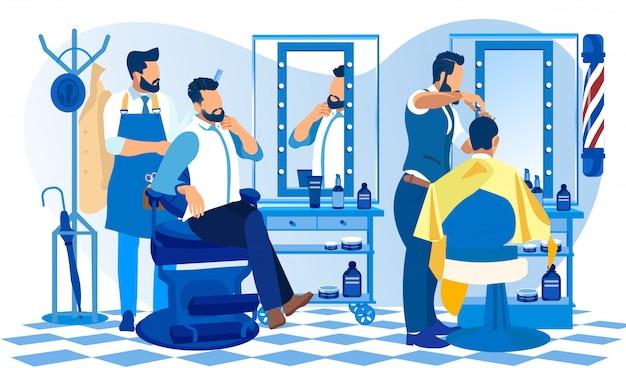 Hipster grooming place barbeiro fazendo cliente corte cabelo