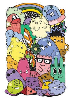 Hipster hand drawn crazy doodle jardim de monstros