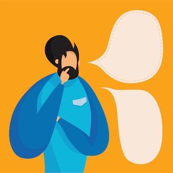 Hipster homem pensando em balão de pensamento