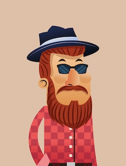 Hipster man cartoon with bigote and glasses icon
