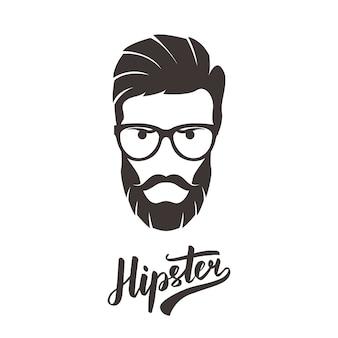Hipster moda homem barbudo retrato em copos.