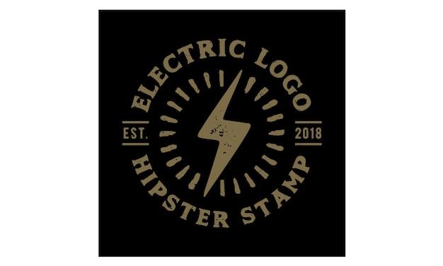 Hipster retro electric stamp logo design inspiração