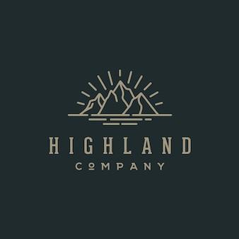 Hipster retrô montanha e mar para logotipo de emblema de aventura