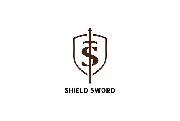 Hipster retro vintage letra inicial s espada lâmina escudo design de logotipo em vetor