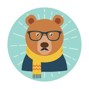 Hipster urso com óculos, bigode e cachecol