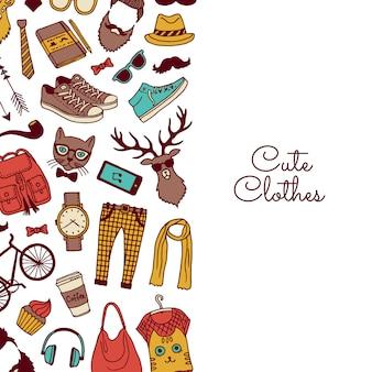 Hipster vector doodle elementos fundo com texto
