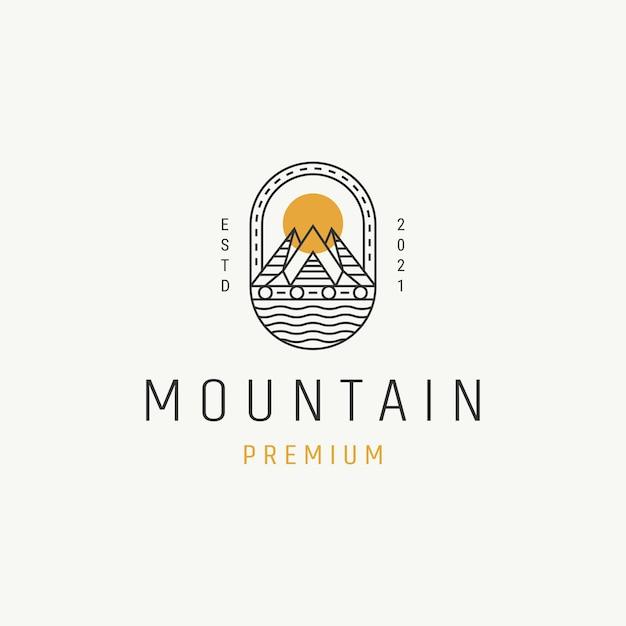 Hipster vintage montanha e rio para aventura design de logotipo distintivo monoline