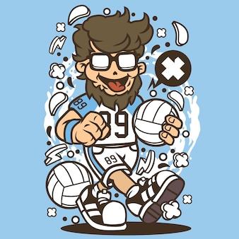 Hipster vôlei bola jogador dos desenhos animados